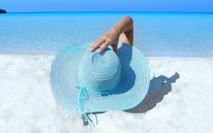 person wearing sunhat